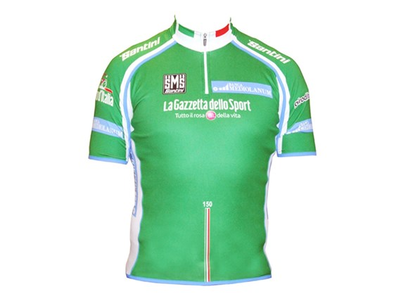 Santini Giro King of the Mountains 14cm Zip Short Sleeve Jersey Green